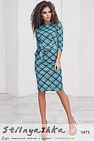 Платье офисного стиля из трикотажа клетка ментол