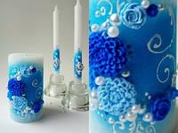 Свадебный набор свечей синий ТЛ-712