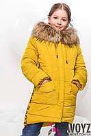 Зимнее детское пальто  X-Woyz! DT-8256-6 Горчица