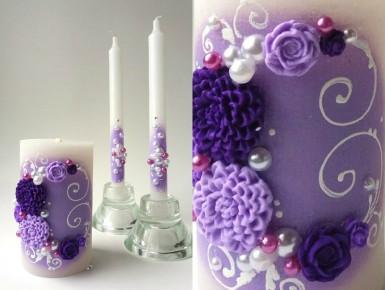 Свадебный набор свечей фиолетовый ТЛ-714