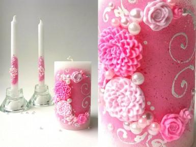Свадебный набор свечей розовый ТЛ-715