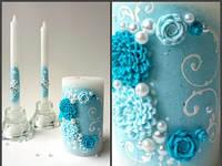 Свадебный набор свечей бирюзовый ТЛ-716