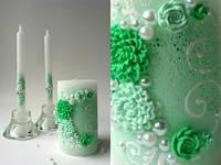 Свадебный набор свечей мятный ТЛ-718