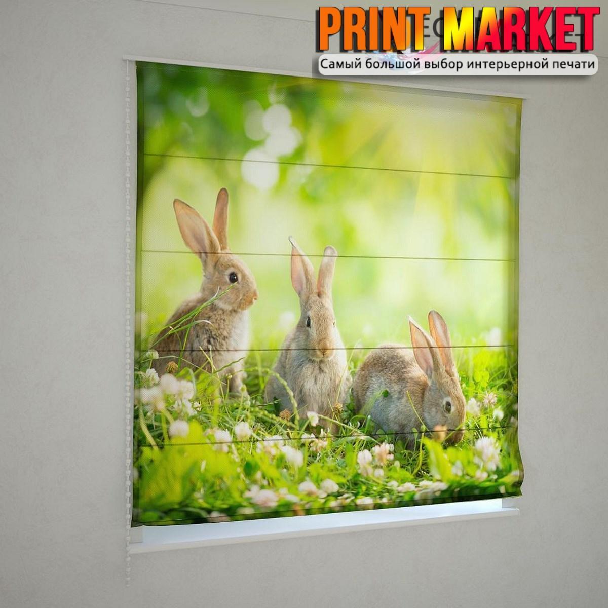 Римские шторы кролики