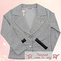 Серые пиджаки для девочек от 6 до 13 лет (5458-2)