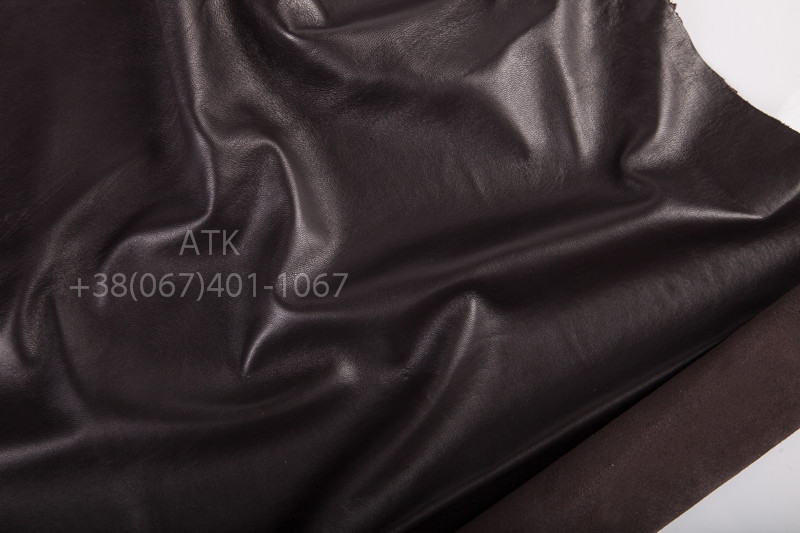 Кожа одежная наппа черно-коричневая