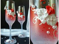 Свадебные бокалы в красном цвете (недорого)  ТЛ-2109