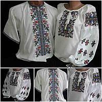 """Рубашки для украинской семьи """"Летний вечер1"""", домотканка, 42-58 р-ры, 1160/1060 (цена за 1 пару + 100 гр.)"""