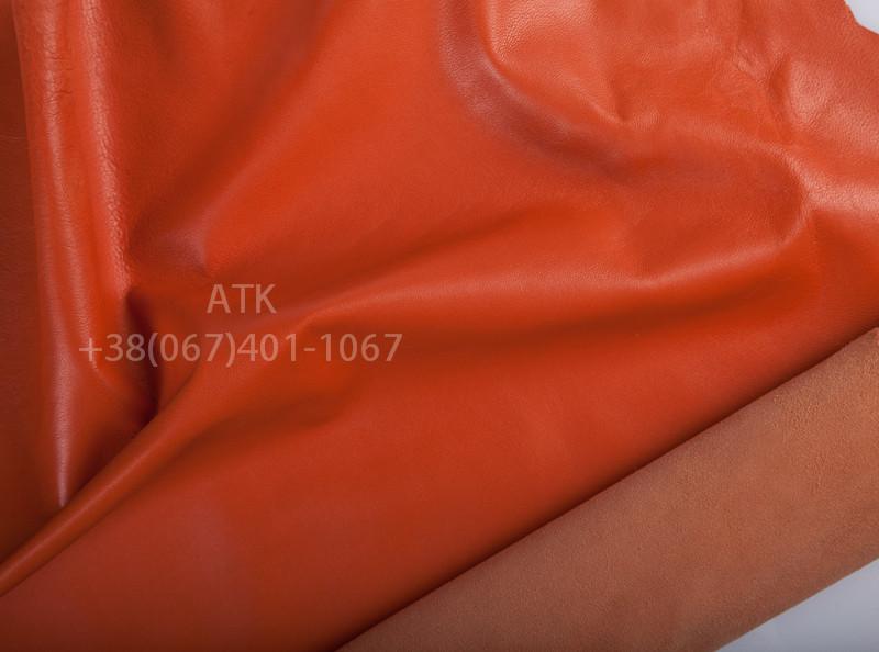 Кожа одежная наппа оранжево-красная