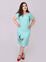 Батальное платье из тонкого льна - 1035