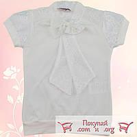 Блузка молочного цвета с коротким рукавом для девочек от 6 до 13 лет (5463-2)