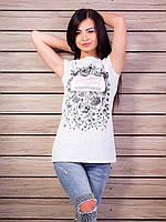 Женская футболка-туника с принтом и разрезами по бокам p.42-48 VM1984-1