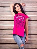 Женская футболка-туника с принтом и разрезами по бокам p.42-48 VM1984-4
