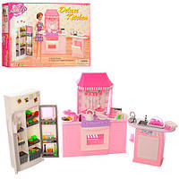 Мебель 9986 (24шт.) кухня, плита, духовка, холодильник, раковина, посуда, в коробке 38-24,5-6см