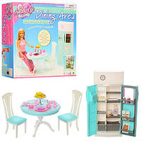 Мебель 2812  кухня, стол, стул 2шт., холодильник, посуда, в коробке 26-24-25см