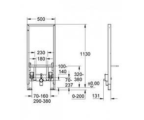 GROHE Rapid SL Инсталляционная система для биде + Настенный уголок для монтажа перед стеной, фото 2