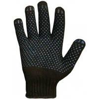 Перчатки трикотажные с ПВХ точкой черные универсальные.