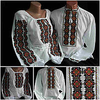 "Рубашки для семейной пары ""Фантазия"" на домотканке, 42-58 р-ры, 1030/930 (цена за 1 пару + 100 гр.)"