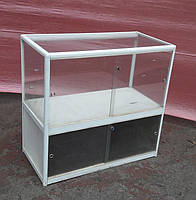 Торговый прилавок стеклянный с алюминиевого профиля 95х100х50 бу, фото 1
