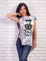 Женская футболка-туника с принтом и разрезами p.42-48 VM1973-1