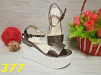 40!!!   Босоножки женские на белой платформе цвет темно-серебрянные , женская летняя обувь, фото 1