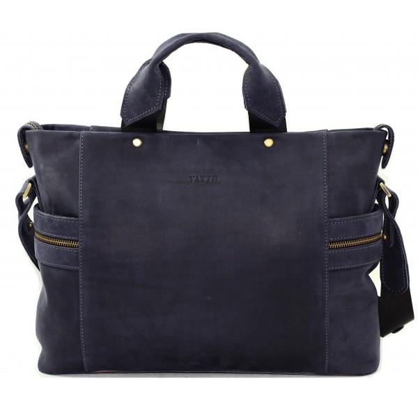 Кожаная мужская сумка Mk39.1 синяя