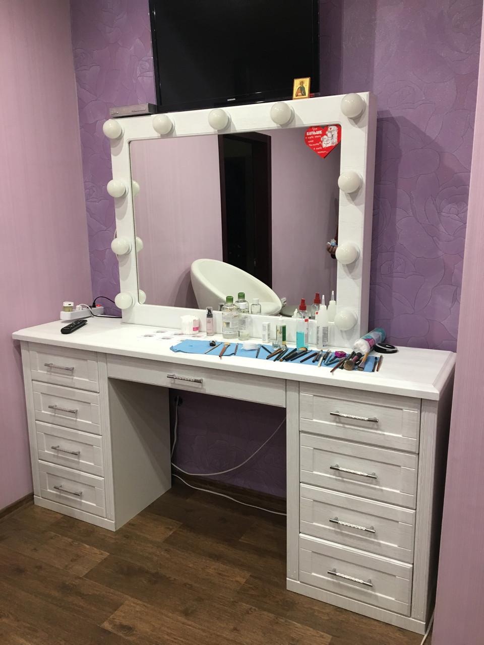 Гримерное зеркало с подсветкой белое