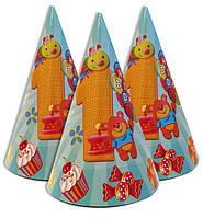 """Колпачки ,колпаки  голубые для 1-го  Дня Рождения""""1 Happy Birthday """""""