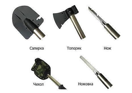 Лопата туристическая 5в1 набор для туриста лопата нож топор ножовка открывалка