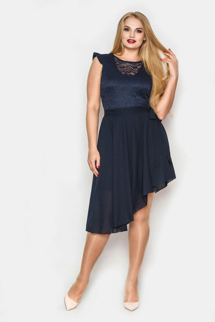 e8e0abe56f9 Платье облегающее гипюровое со съемной шифоновой юбкой синее ...
