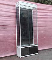 Торгова вітрина скляна з алюмінієвого профілю 250х100х40 см бу, фото 1