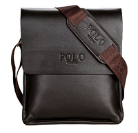 Коричневая удобная мужская кожаная сумка планшет Polo Videng