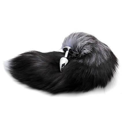 Анальная пробка хвост Grey Fox Plug серый, фото 2