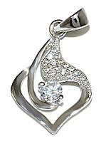 Кулон женский. Камень: белый циркон. Цвет металла: серебряный. Высота: 2,3 см. Ширина:13 мм.