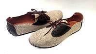 Мужские туфли  лен обувной, кожа цвет:бежевый 0448УКМ