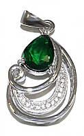 Кулон женский. Камень: белый и изумрудный циркон. Цвет металла: серебряный. Высота: 3 см. Ширина:15 мм.