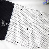 Вуаль французская с мушками, черный (50 см)