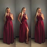 Вечернее длинное платье с разрезом на ноге, материал - креп костюмка, бордо