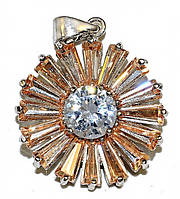 Кулон женский. Камень: белый и жёлто-коричневый циркон. Цвет металла: серебряный. Высота: 3 см. Ширина:20 мм.