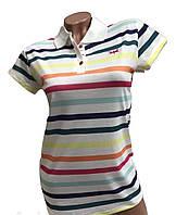 Модная женская футболка-поло в полоску