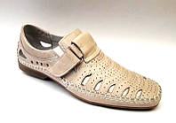 Мужские туфли летние кожаные цвет: бежевый, коричневый 0450УКМ