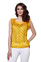 Блуза женская GIOIA шелковая с рюшами желтая