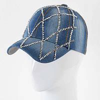 Кепка джинсовая со стразами «Сетка»
