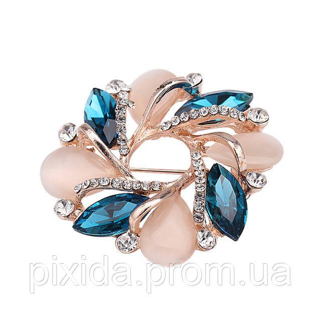 Брошь опалы голубые кристаллы позолота