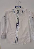 Рубашка белая с синей каймой на кнопке 6-10 лет