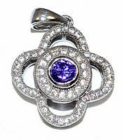 Кулон женский. Камень:белый и сиреневый  циркон. Цвет металла: серебряный. Высота: 2,3 см. Ширина: 16 мм.