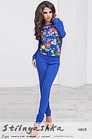 Модный повседневный костюм с цветами индиго