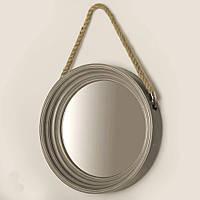 Настенное круглое зеркало, серая состаренная рамка, на канате, 40 см.