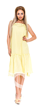 Летнее платьице из натурального хлопка   нежно-желтого цвета.