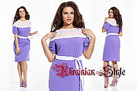 Элегантное летнее платье с декором из гофрированной сетки и кружева. 48-54.
